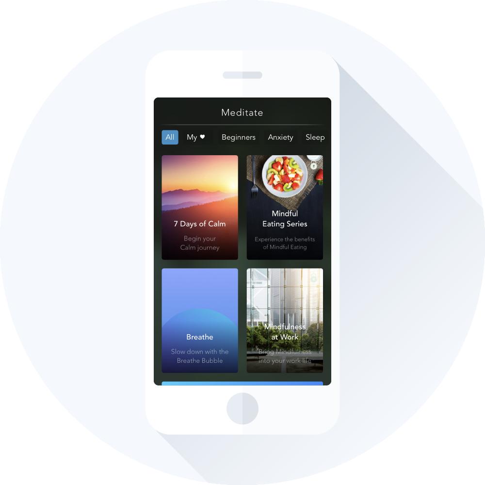 Calm app med forskellige meditationsøvelser