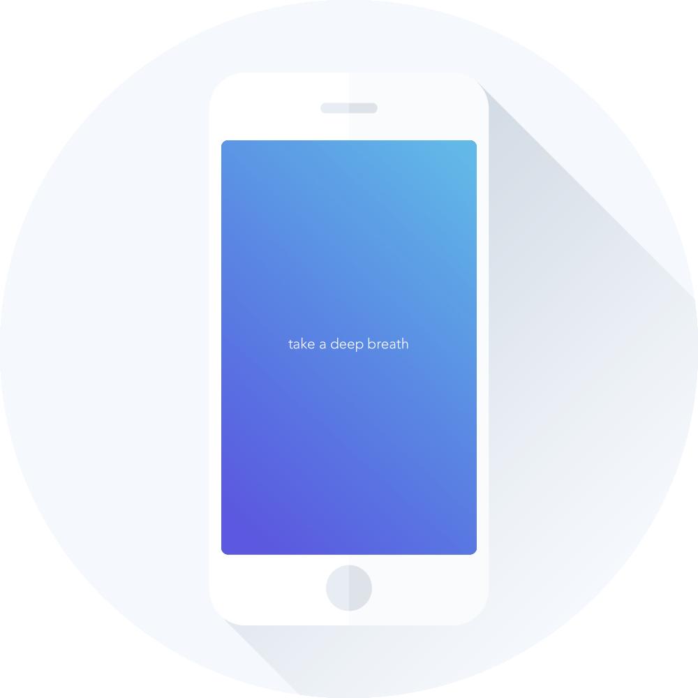 Calm app forside med ordene: Take a deep breath