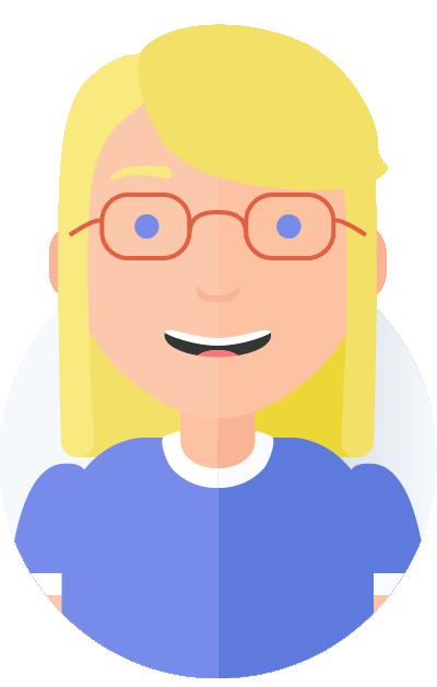 blond kvinde med briller