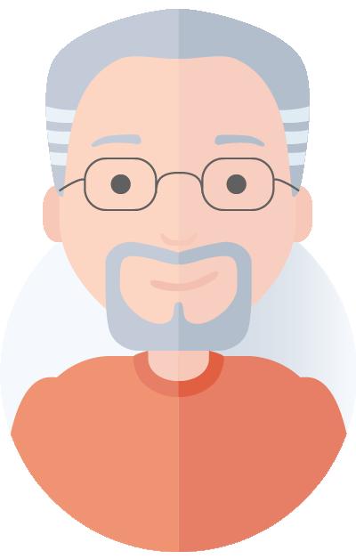 gråhåret mand med skæg