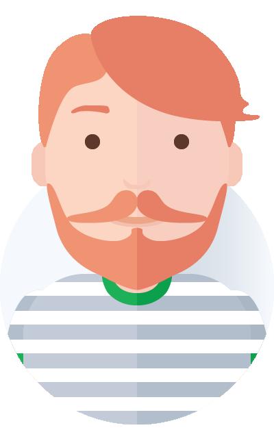 rødhåret mand med skæg