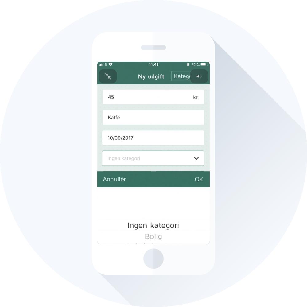 Tilføj nye udgifter i Lommebudget app