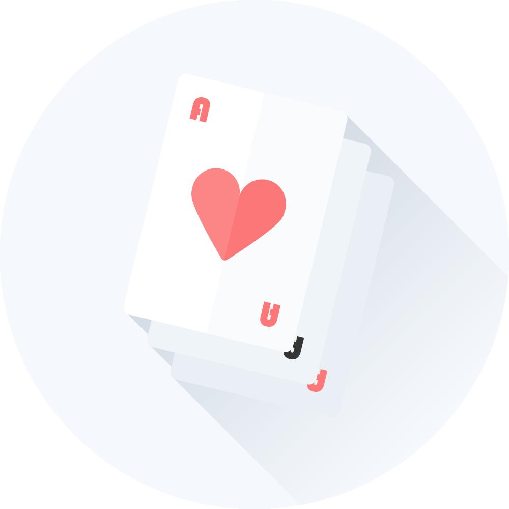 bunke af spillekort med hjerter es på toppen