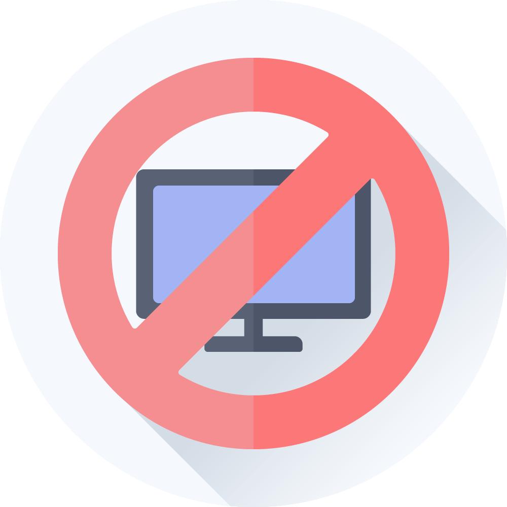 Computer med stop skilt