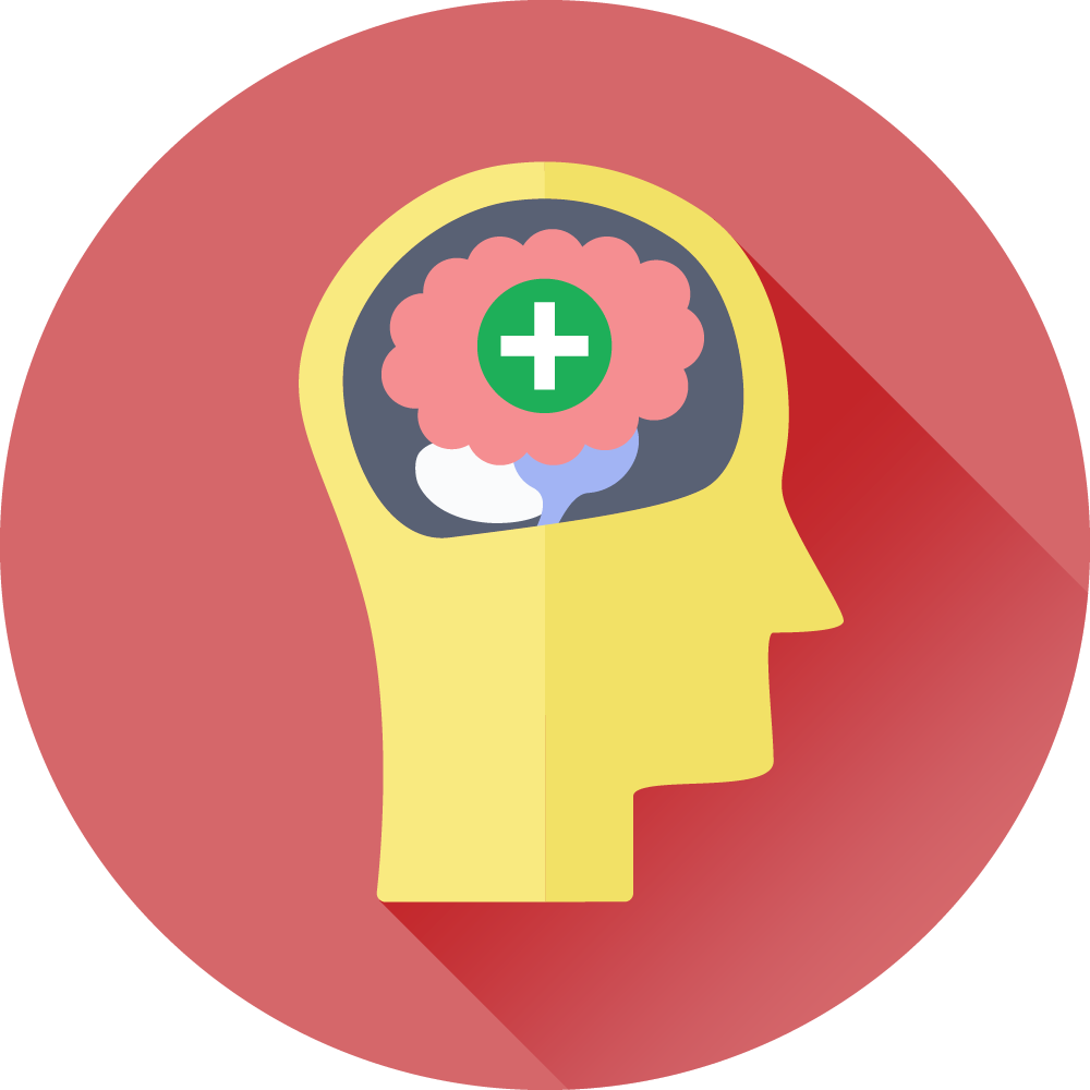 Hjerne med et grønt plustegn