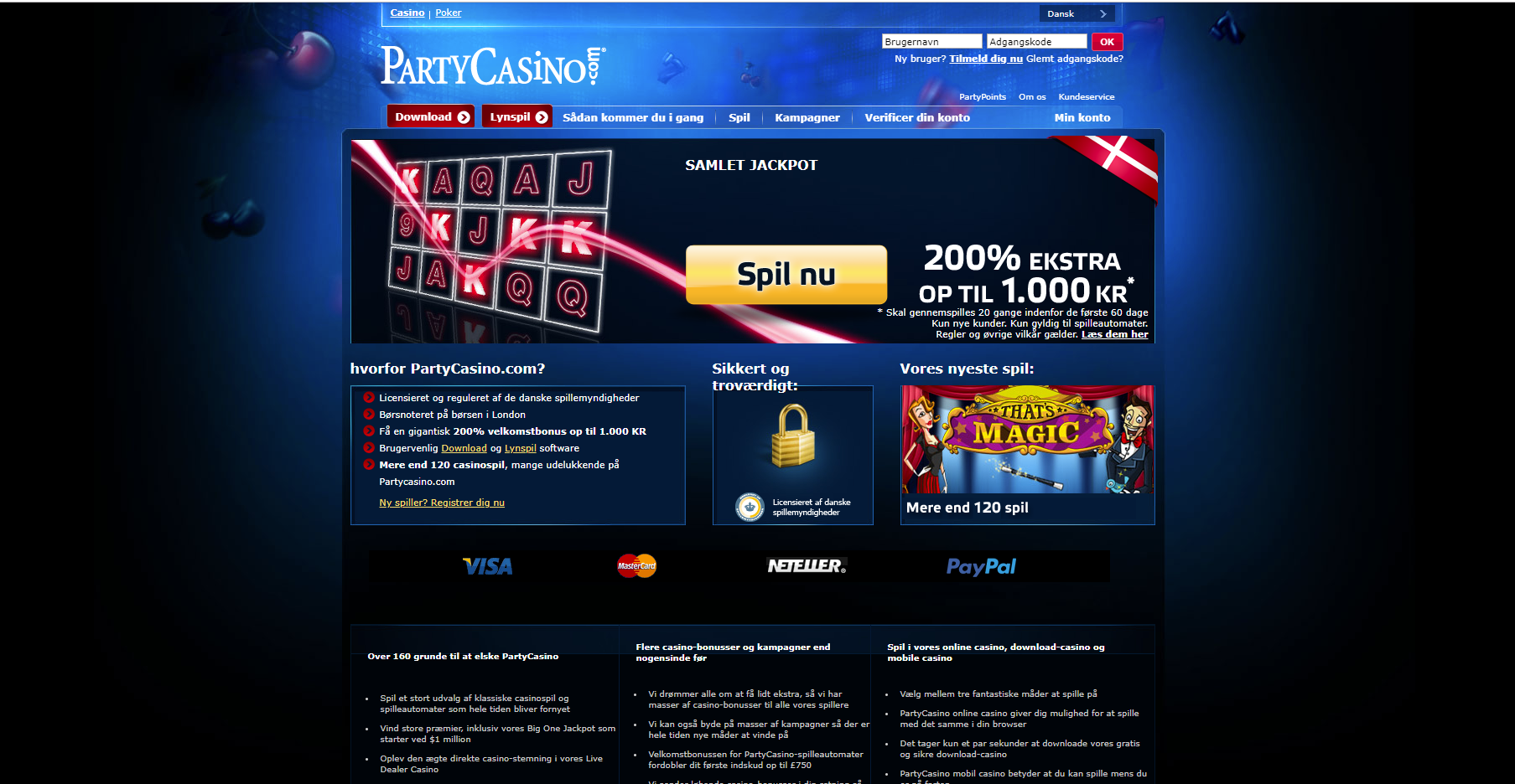 Party Casino Forside