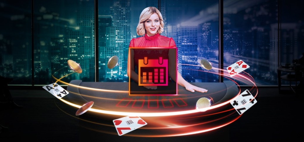 Kvindelig dealer med rød kjole fra Maria Casino