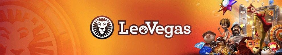 LeoVegas banner med logo og spilleautomater