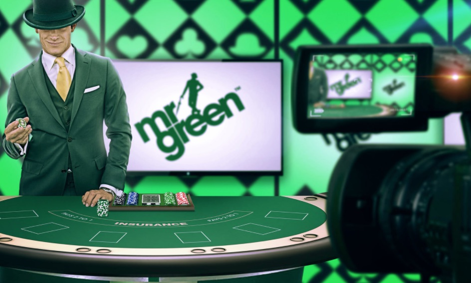 Mr Green ved dealer bord på live casino