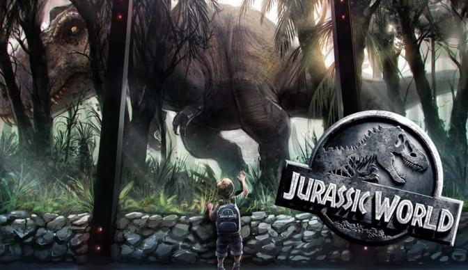 Dreng der kigger på dinosaur Jurassic World spilleautomat