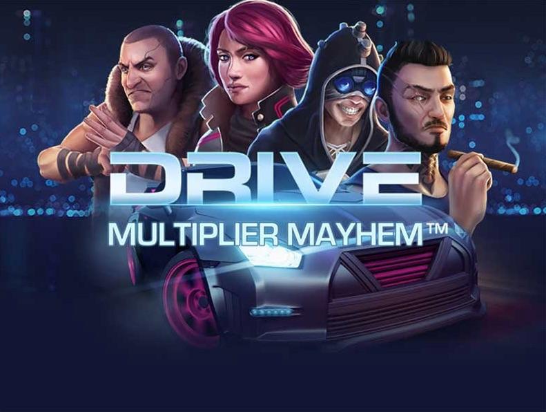Drive: Multipliers Mayhem promo banner med Hamaki, Jette, Twitch og Bruiser