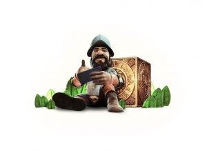 Gonzo fra Gonzo's Quest spiller på telefon i NetEnt promo