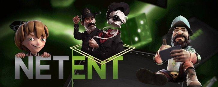 NetEnt spilleautomater banner med karakterer fra spillene