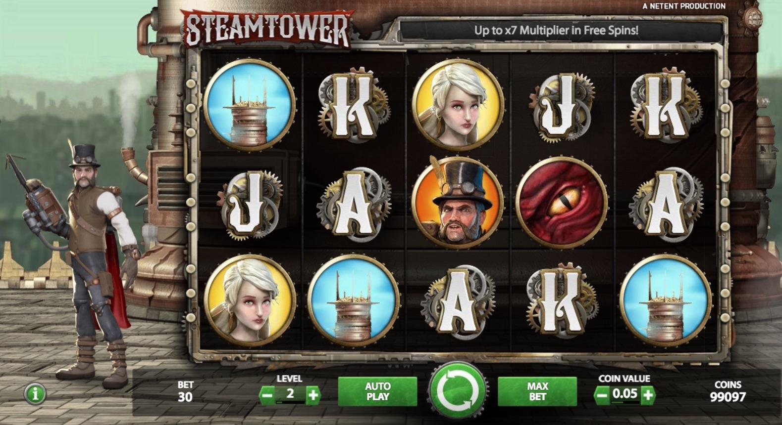 SteamTower spilleautomat rtp, hjul og rækker