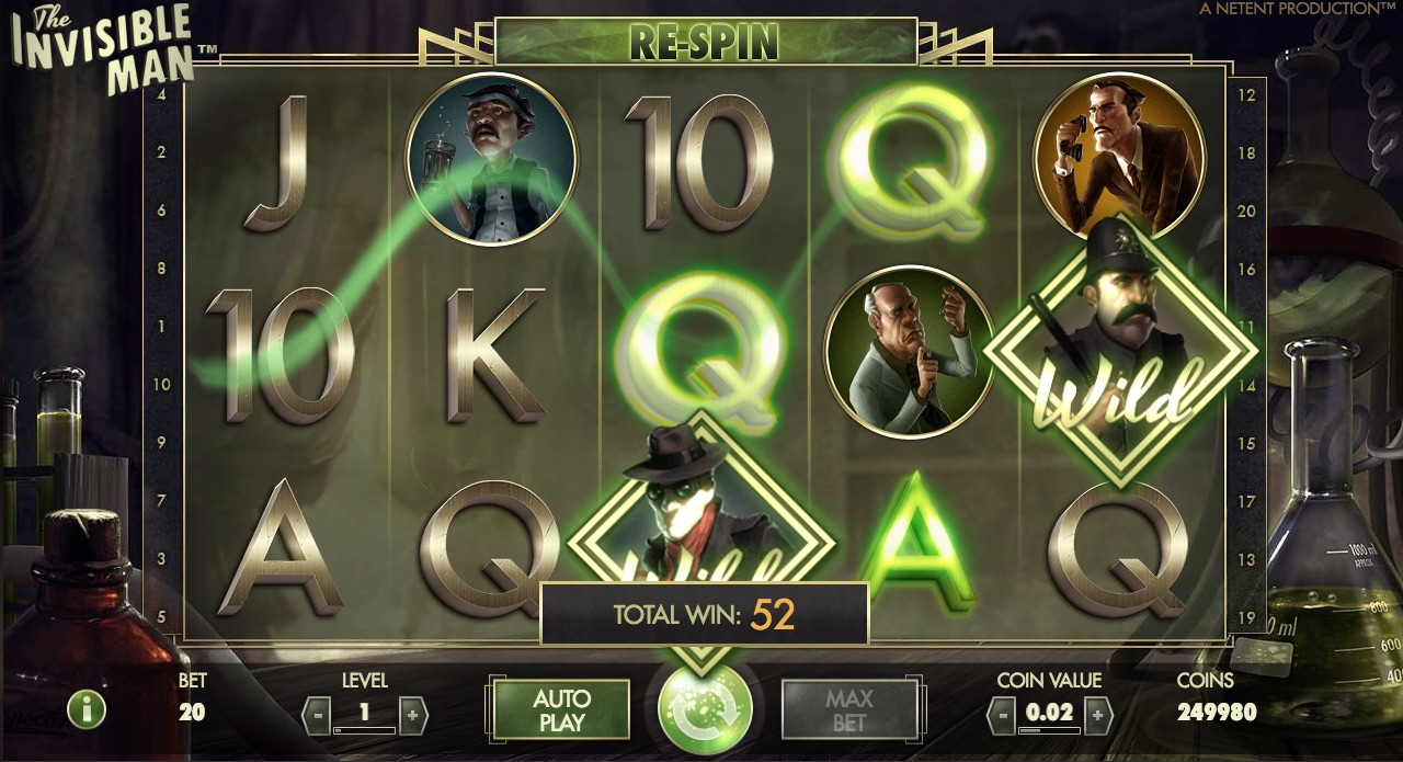 The Invisible Man symboler og bonus spil