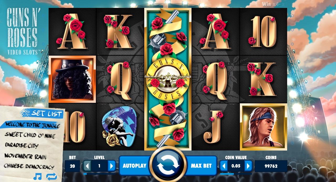 Guns n Roses hjul og symboler i spillet