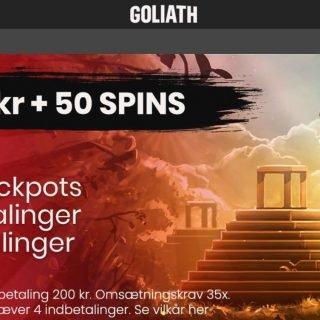 Goliath casino forside med velkomstbonus tilbud