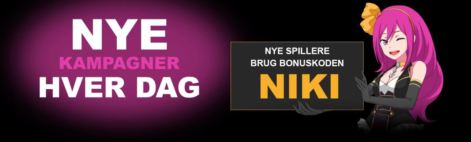 Lucky Niki Casino bonuskode banner