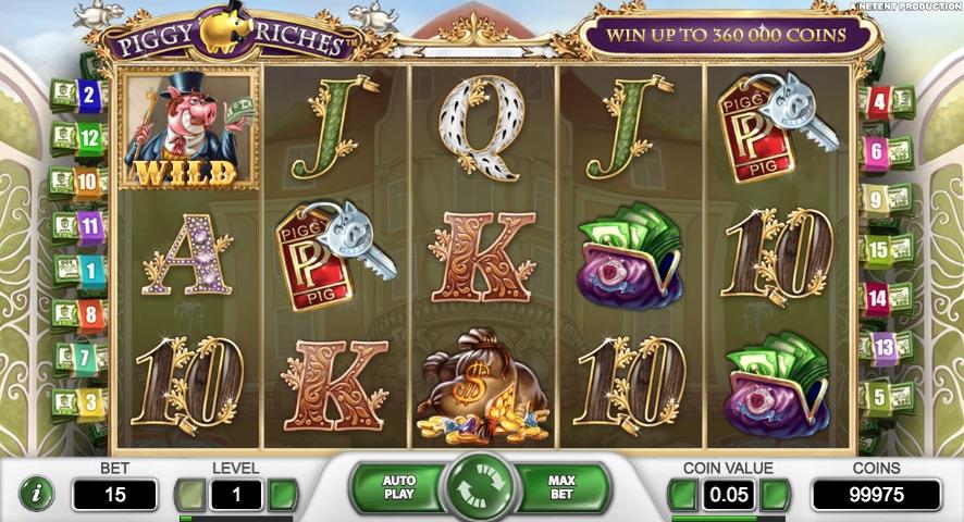 Piggy Riches spilleautomat hjul og rækker