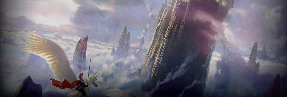 Pegasus der flyver over skyerne og mellem bjergene