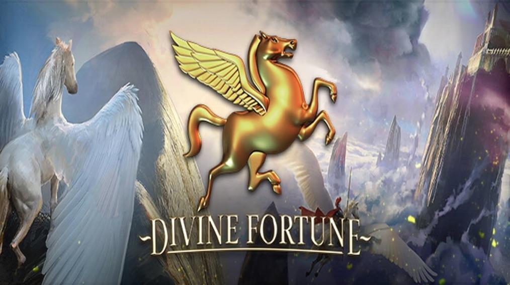 Divine Fortune logo med guld symbol af Pegasus