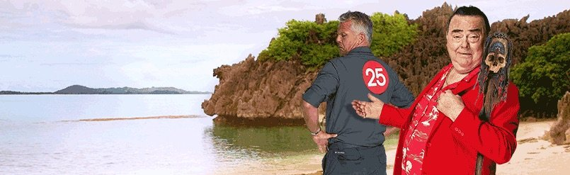 Jørgen og Jakob på en strand med logo på ryggen