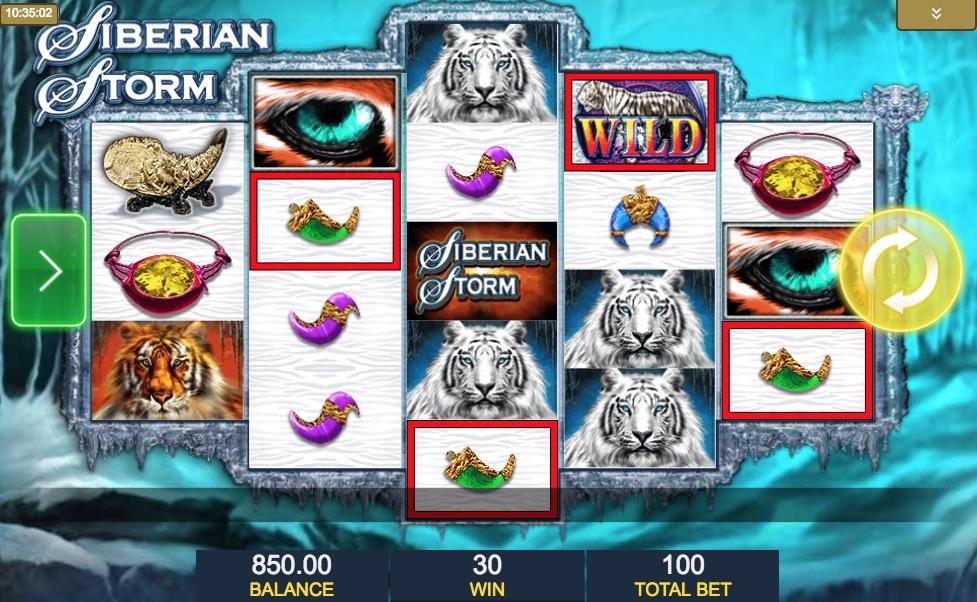 Siberian Storm spilleplade med symboler
