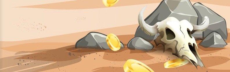 Cozino kranium i sandet omgivet af mønter