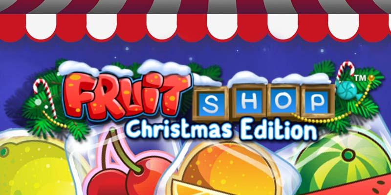 Fruit Shop Christmas Edition Banner med Frugter og Bogstaver
