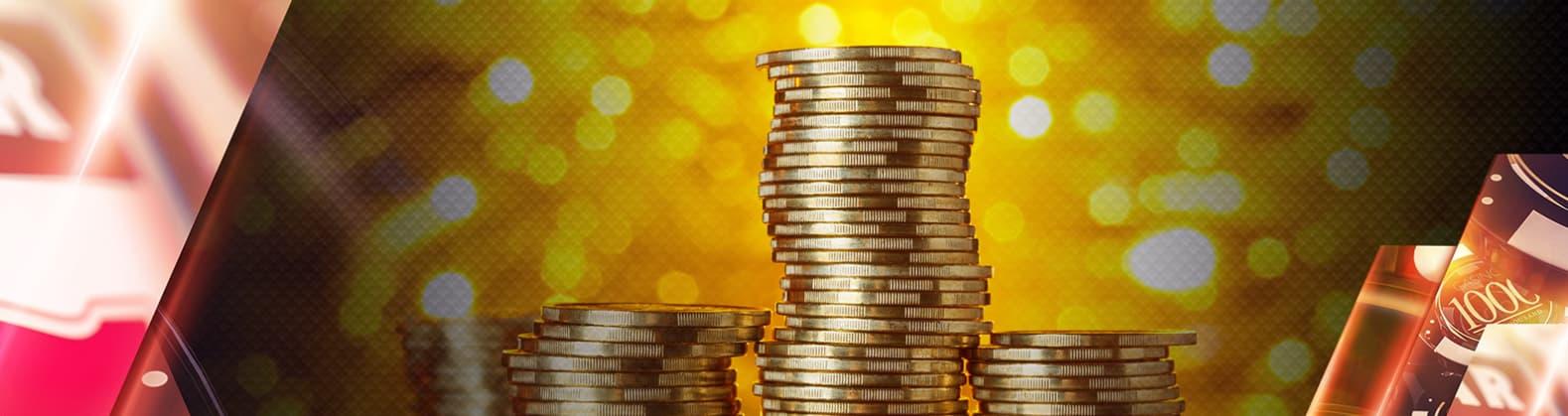 Guld mønter i en stak