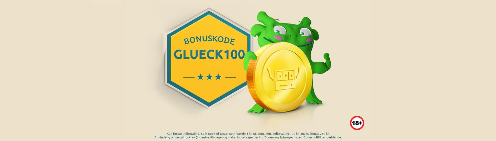 Grøn karakter ved siden af bonuskode skilt