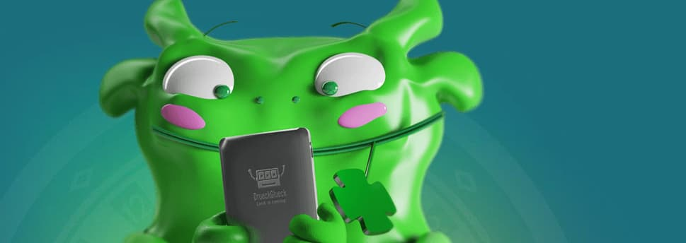 Lille grønt monster der spiller Drueckglueck på casino app