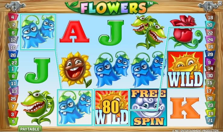 Flowers Spilleplade Gevinst og Wild Symbol