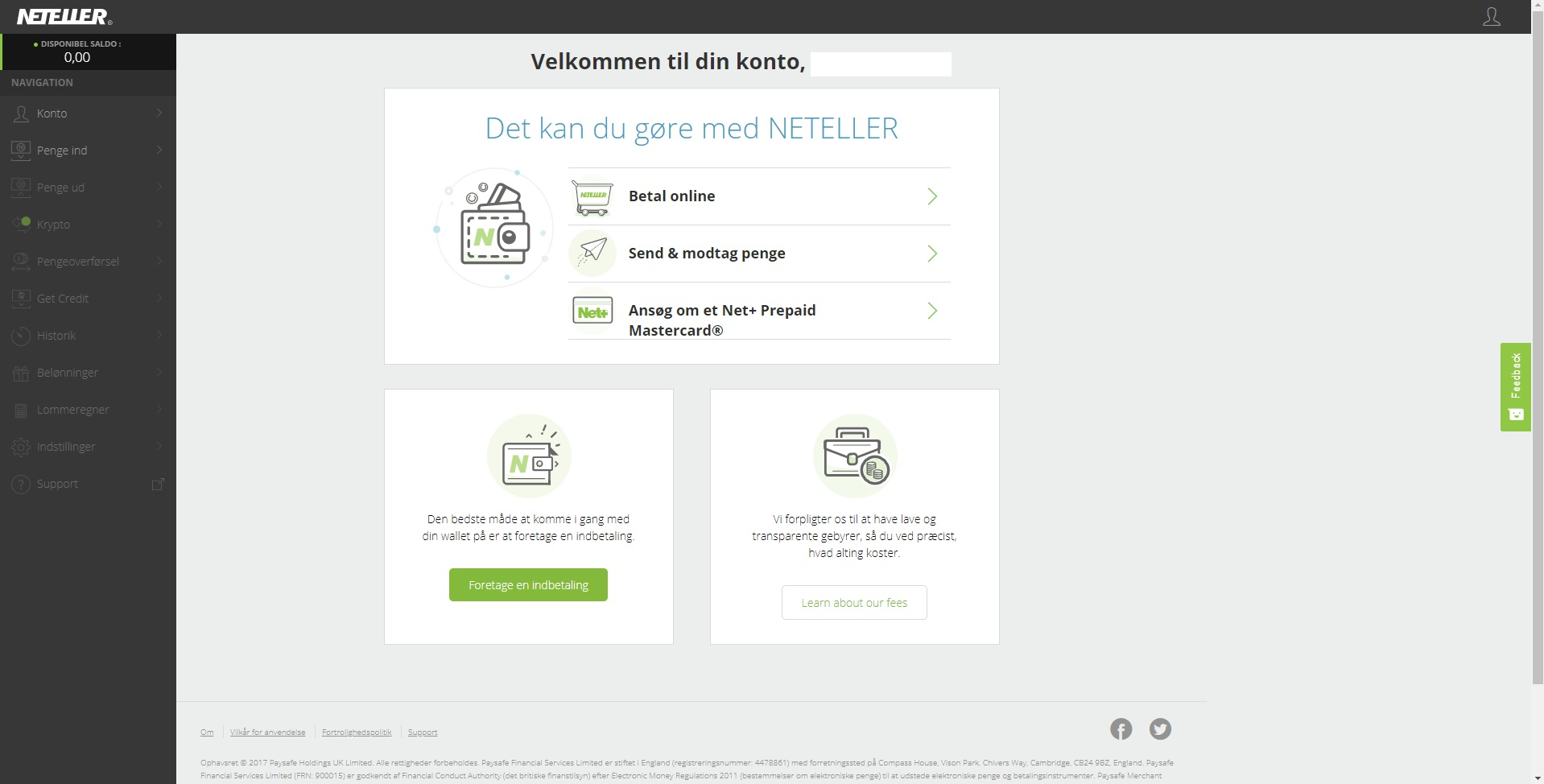 Neteller Dashboard Menu