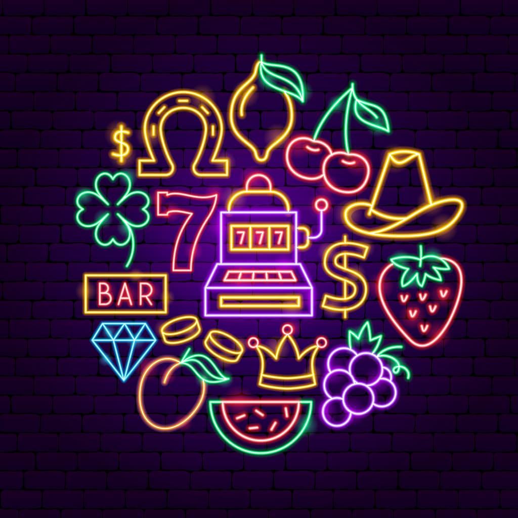 spilleautomater og symboler i neon