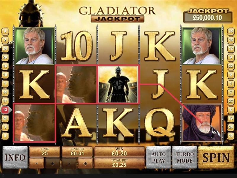 Gladiator spilleautomat spilleplade