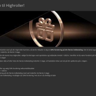 Highroller Casino velkomstbonus